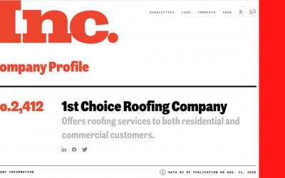 Northeast Ohio Commercial Roofing Company Added to the Inc. 5000 List for Second Year in a Row