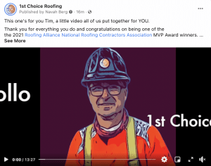 The 2021 Roofing Alliance MVP Award Goes To: Tim Hollo - 1st Choice Roofing - Screen Shot 2021 03 05 at 4.47.36 PM